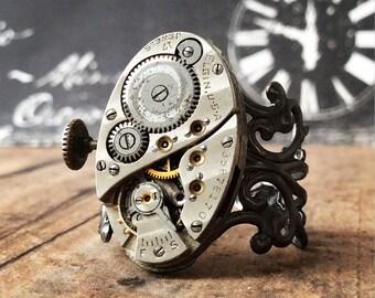 Watch Part Ring, Steampunk Ring, Watch Gear Ring, Watch Movement, Gunmetal Ring, Steampunk Jewelry, Oval Ring, Gunmetal Jewelry, Silver Ring