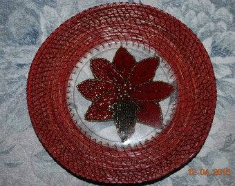 "Pine Needles Basket ""Pointsettia Tray"""