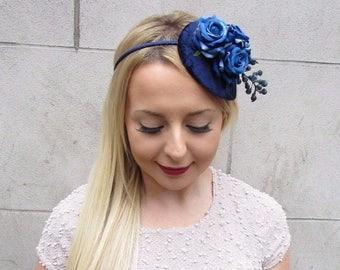Navy Royal Blue Berry Flower Fascinator Teardrop Races Vtg Hair Headband 2646