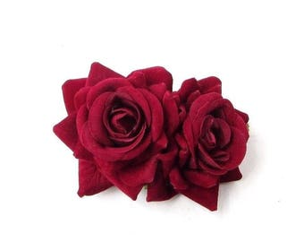 Double Burgundy Wine Red Rose Flower Hair Clip Rockabilly 1950s Vintage 40s 2747
