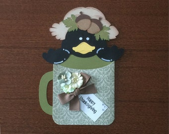 Happy Thanksgiving Crow Pocket Card - Handmade