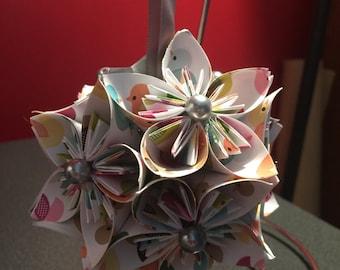 "Handmade ""Little Birdie"" Kusudama Christmas Ornament"