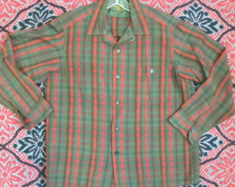 Sir Pendleton board shirt Large gray red olive plaid lumberjack surfer rockabilly Midcentury authentic original vintage Northwest cool