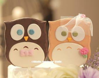 owls wedding cake topper ,Handmade owls cake topper,Handcrafted wood owls doll