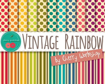 """Retro Rainbow Digital Paper """"Vintage Rainbow"""" retro digital paper in stripes and polka dot patterns scrapbook, cards, decore COMMERCIAL USE"""