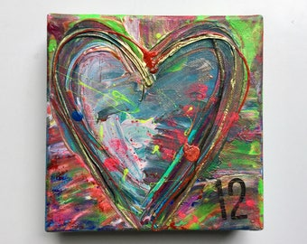 Small abstract acrylic heart painting. Original Painting #012, Original Art, Heart art! #012 of Hearts, Heartache Series, 6x6 canvas