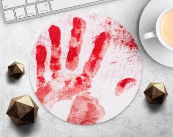 MousePad Bloody Hand Mouse Pad Blood Print Mouse Mat Red Mouse Pad Round MousePad Coworker Gift MouseMat Desk Accessories Office Supplies