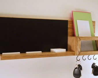 Key Rack- Mail Organizer- Chalkboard Message Center-Honey Oak Finish