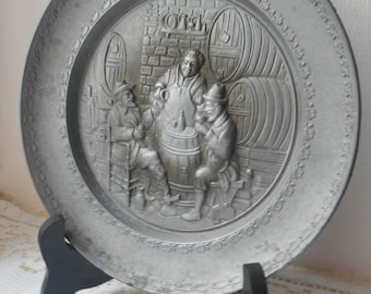 stunning French vintage decorative pewter plate with bar scene design