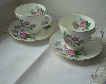 pair of stunning vintage English Duchess fine bone china cups and saucers