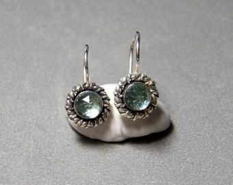 6mm Faceted Green Erinite Spinel Gemstone Pierced Earrings set in Sterling Silver
