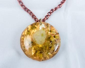 Copper Leaf Quartz Wildflower Necklace