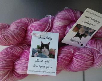 Handdyed yarn singles merino Siamese cat base pastel pink