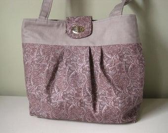 Handbag Purse Fabric Purple Paisley Handmade Women's Accessories Pleated Pleats