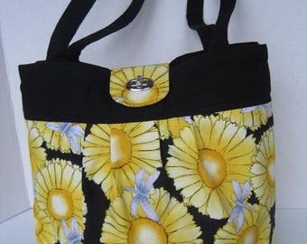 Handbag Purse Fabric Handmade Women's Accessories Pleated Yellow Daisies Dragonflies
