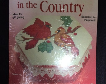 Cross Stitch Trinket Box Kit Christmas Cardinals What's New Inc.