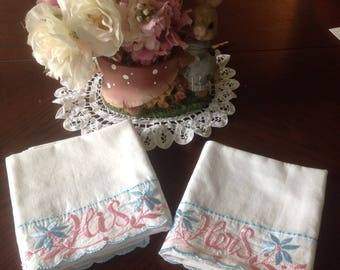 Hand Embroidered His And Hers Pillow Cases, hand made Embroidery, Vintage Embroidered Pillow cases, Vintage Wedding Gift, Vintage Shower