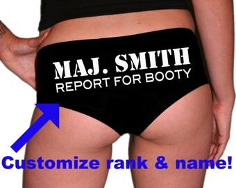 CUSTOM Military Rank Panties. Marine Wife. Air Force Girlfriend. Air Force Wife. Army Girlfriend. Navy Wife. Military Gift. Report For Booty