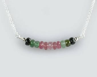 Necklace Gift Idea for Woman - Gemstone Choker Necklace for Woman - Watermelon Tourmaline Jewelry - Avail Gold, Silver and Rose Gold