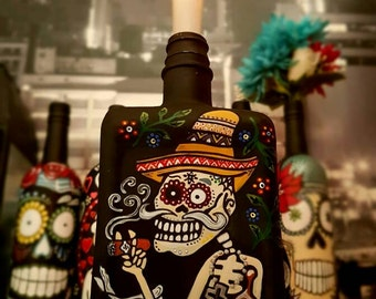 Mexican Day of the Dead Sinner hand painted decorated bottle