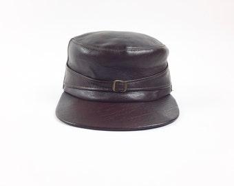 Vintage Military Style Hat / Conductor Hat / Pleather Hat / Vinyl Cap / Faux Leather Hat / Mens Medium