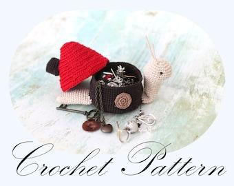 PATTERN: Crochet Snail Box, Crochet Snail, Snail Ring Box, Amigurumi Snail (English Only)