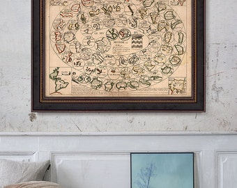 Game of the World Map 1645, Celestial Globes Map, World Map, Antique Map- CP154