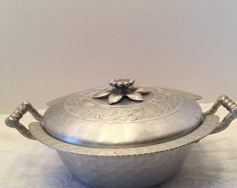 Hand Forged Everlast Metal Bowl or Bowl Holder with Cover ~ Aluminum Bowl Holder ~Metal Bowl ~ Vintage