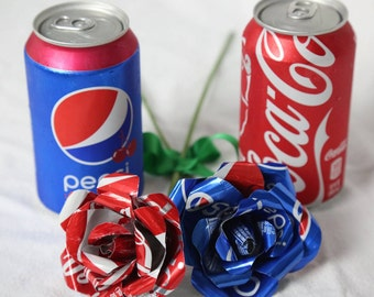 two aluminum can roses, pepsi and coca-cola rose,