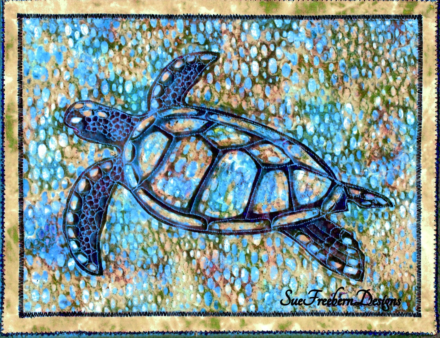 Sea Turtle Silhouette 2 Art Quilt Pattern Instant