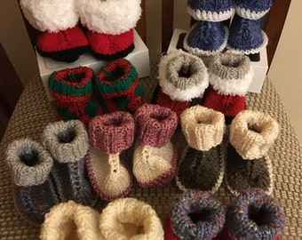 Hand Knit Baby booties, Unique designs and colors, Roll tops, Warm, Snuggly