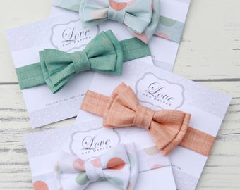 Spring Bowties, Summer Bowties, Mint Bowties, Peach Bowties, Baby, Child, Teen, Adult Bowties, Bow Tie, Bow Ties, Bowties