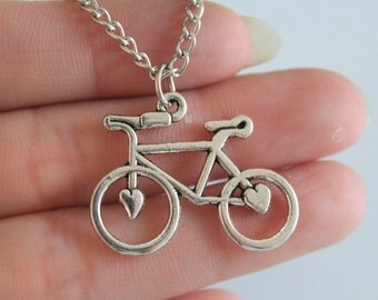 Bicycle Necklace,bike Necklace,love to Ride,bohemian Jewelry,chain Necklace 23*30mm