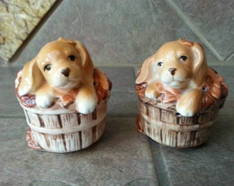 "Very Cute Vintage Avon Puppy in a Basket of Flowers, Ceramic Sachet , Circa 1980's, Excellent Condition Each Measures 4""x4"" Nice"
