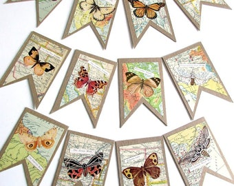 Lot of 12 Composition Board Tags Embellished with Vintage Maps and Butterflies with Labels