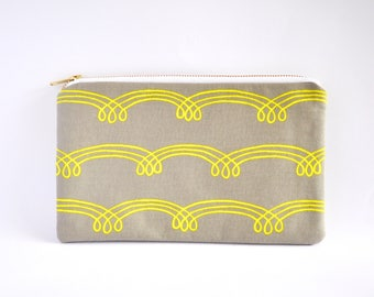 Clutch Bag, Clutch Purse, Zipper Clutch, Clutch Wallet - Grey & Yellow Squiggle Lines