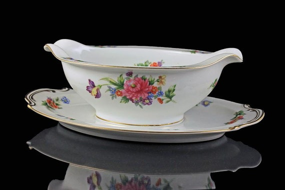 Gravy Boat, Sango China, Occupied Japan, Floradel, Floral Pattern,  Attached Underplate,  Multifloral, Gold Trim