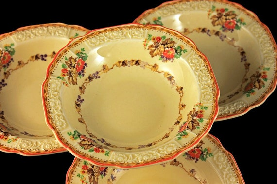 Fruit Bowls, Dessert Bowls, Myott Staffordshire, Embossed, Grapes, Flowers, Cream Colored, Hard to Find, Made In England, Set of 4