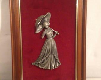Table Figurine Statue BACHET Prince woman with parasol Tin
