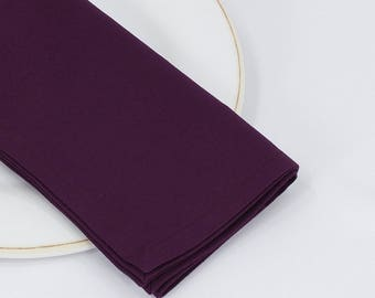 Eggplant napkins, cloth napkins, cotton fabric, table service, table settings, solid color serviettes, classic wedding decor, sets of 4