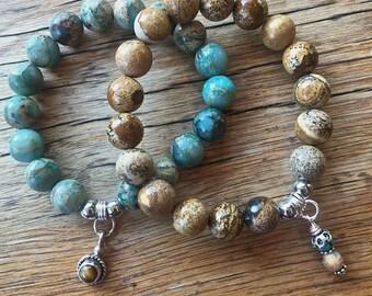 Gemstone stacking bracelet set, beaded stretch bracelets -Desert Hues-set of 2, stackable bracelets, boho stretch bracelets, Turquoise&Brown