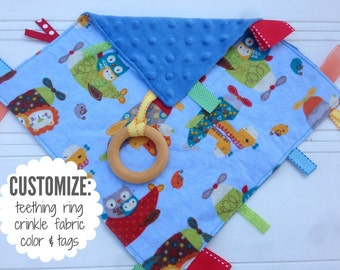Baby Sensory Tag Blanket | Options: Natural Teething Ring, Crinkle Material, Color | Animals in Airplanes and Helicopters