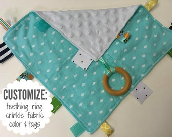Baby Sensory Tag Blanket | Options: Natural Teething Ring, Crinkle Material, Color | Turquoise Diamonds