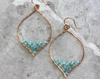 Copper Petal Hoop Earrings with Wire Woven Aqua Blue Czech Crystals / Hammered Copper Hoop Earrings / Boho Crystal Earrings /Bottom Point