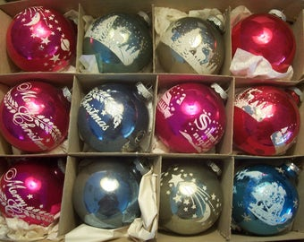 Ten Large & Two Plain Assorted Stenciled Shiny Brite Christmas Ornaments