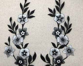Large - Flowers - Black/White/Silver - Facing Left, Right, or Both - Iron on Applique - Embroidered Patch - 692258