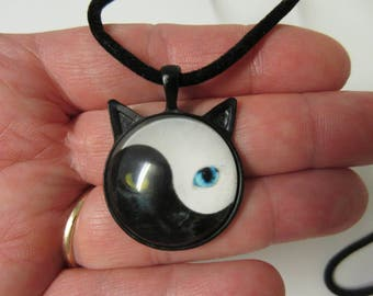 FREE SHIPPING! Yin Yang Cat Face and Ears Necklace-Cat Necklace