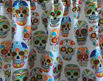 "Sugar Skulls on White Valance Panel 43 1/2"" x 13"""