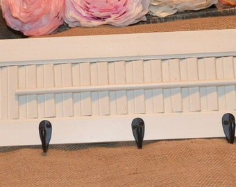 White shutter hanger, shutter wall decor,  shutter display, jewelry organizer, window shutter, old distressed shutters,  cottage chic