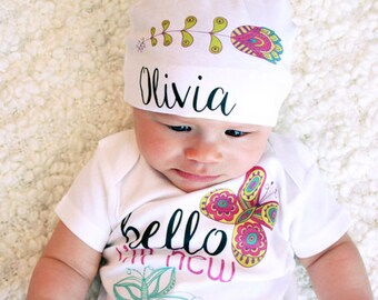 Baby Coming Home Outfit, Newborn Baby Set, Personalized Baby Clothes, Baby Girl Set, Butterfly Onesie, Baby Hospital Outfit